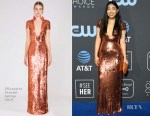 Fashion Blogger Catherine Kallon features Awkwafina In Elisabetta Franchi - 2019 Critics' Choice Awards