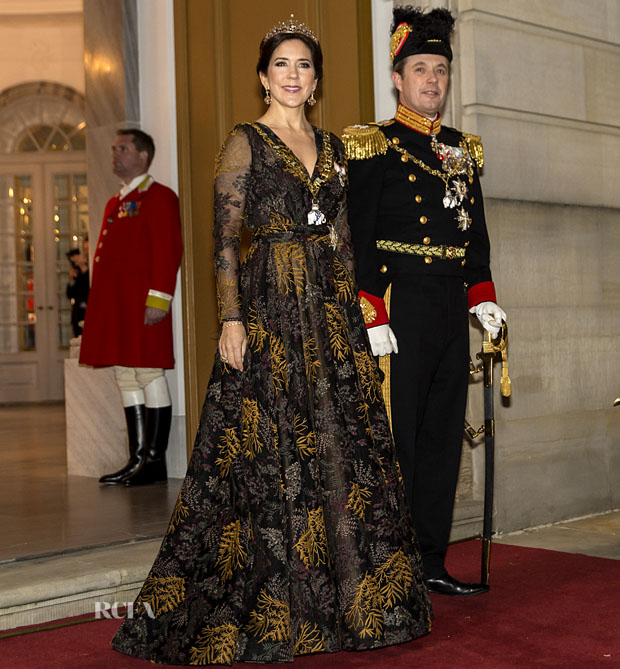 Fashion Blogger Catherine Kallon features Crown Princess Mary of Denmark In Jesper Høvring - New Year's Banquet At Christian VII's Palace