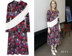 Fashion Blogger Catherine Kallon features Emma Stone's Givenchy Silk-Trimmed Floral-Print Dress 'Maniac' Press Conference
