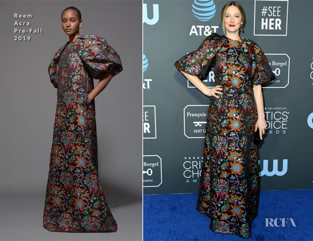 Fashion Blogger Catherine Kallon features Judy Greer In Reem Acra - 2019 Critics' Choice Awards