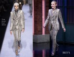 Fashion Blogger Catherine Kallon features Julia Garner In Tom Ford - Late Night with Seth Meyers