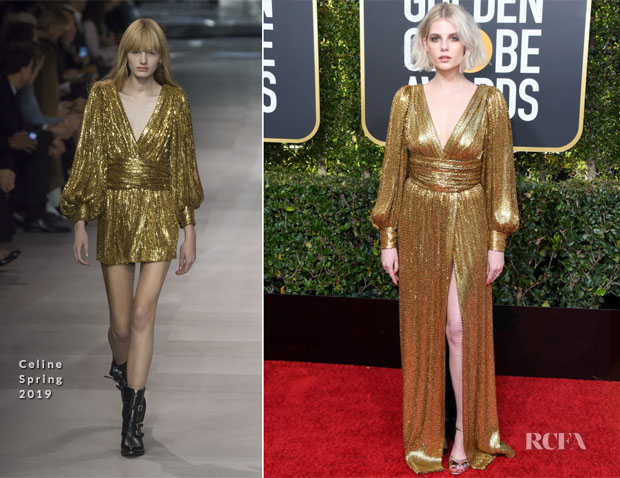 Fashion Blogger Catherine Kallon Features Lucy Boynton In Celine - 2019 Golden Globe Awards