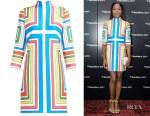 Naomie Harris' Emilia Wickstead Melodie Cloqué Geometric Dress
