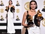 Fashion Blogger Catherine Kallon features Dua Lipa In Atelier Versace - 2019 Grammy Acceptance