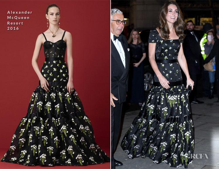Catherine, Duchess of Cambridge In Alexander McQueen - The Portrait Gala 2019