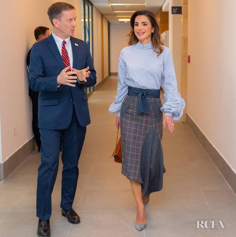 Queen Rania of Jordan Wears Silvia Tcherassi In Amman