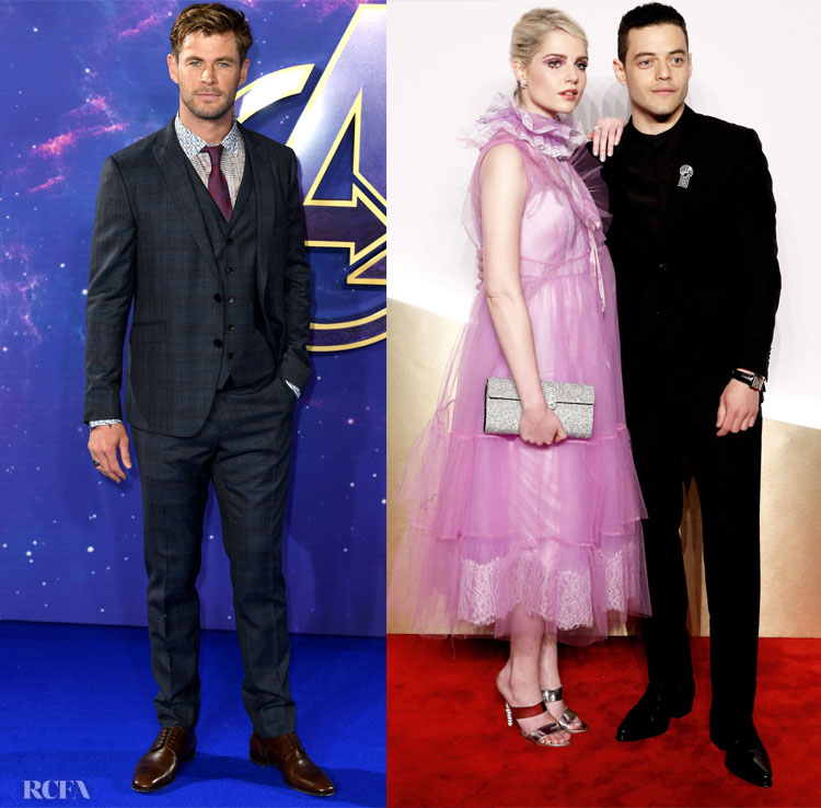 Chris Hemsworth wearing ETRO and Rami Malek in Givenchy