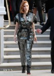 Jessica Chastain's Sequin & Leather Jumpsuit For The Graham Norton Show