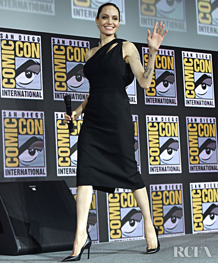 Angelina Jolie Makes A Return To The Spotlight In Signature Black Saint Laurent For Comic Con