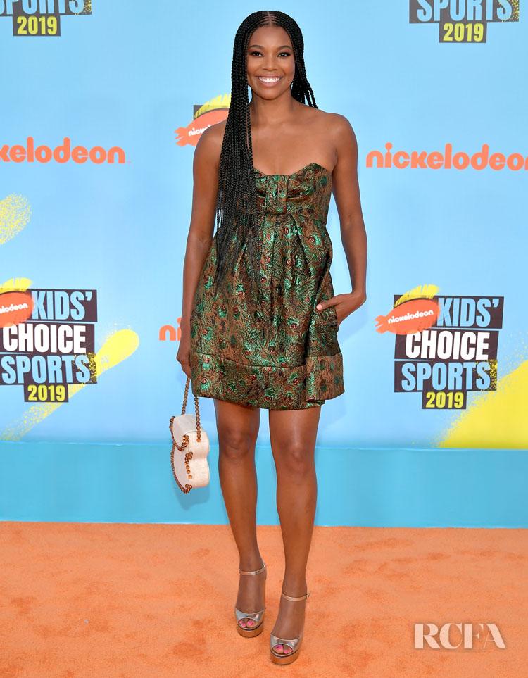 Gabrielle Union's Mini Dress, Statement Bag Run Continues At The Nickelodeon Kids' Choice Sports 2019