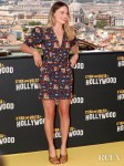 Margot Robbie's Playful Printed Frock For The 'Once Upon A Time In Hollywood' Rome Photocall