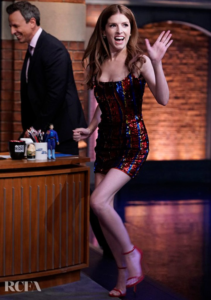 Anna Kendrick's Halpern Sequin Mini For Late Night with Seth Meyers