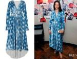 Felicity Jones' Paco Rabanne Crystal-Embellished Print Dress