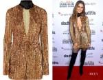 Cheryl Cole's Attico Velvet Trimmed Embellished Dress