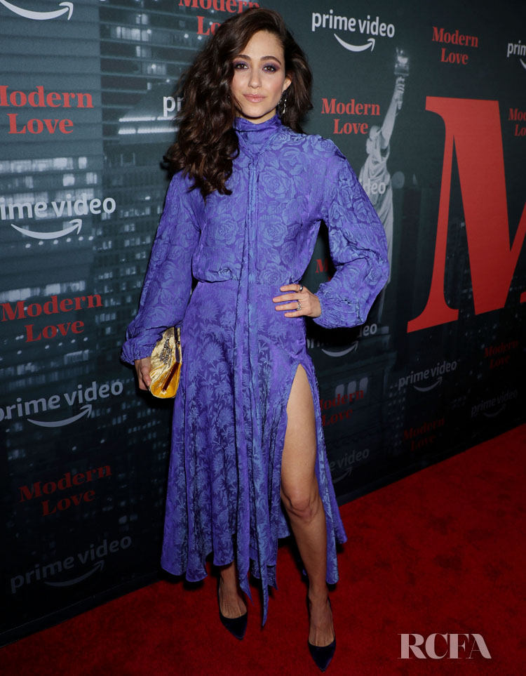 Emmy Rossum's Purple Perfection For Amazon's 'Museum Of Modern Love' LA Premiere