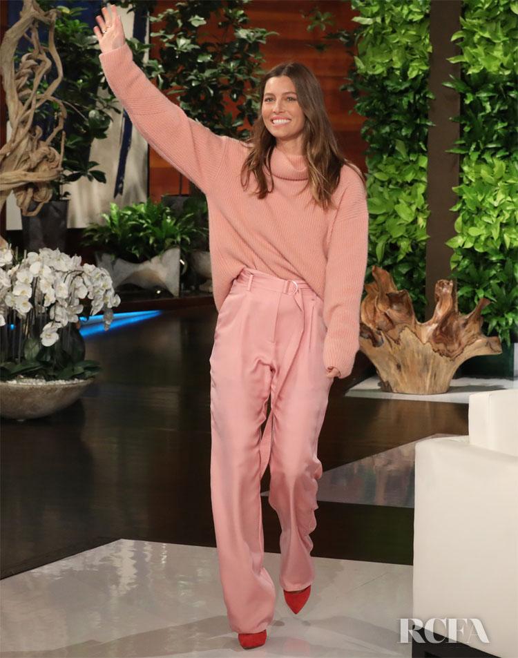Jessica Biel Was Blush & Bashful In Sally LaPointe On The Ellen Show