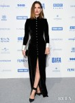 Lily James Sleek Black Velvet Dress For The 2019 British Independent Film Awards