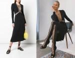 Karlie Kloss' Dion Lee Black Lace Up Detail Midi Dress