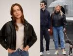 Sienna Miller's MANGO Black Pocket Leather Biker Cropped Jacket