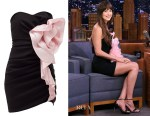 Dakota Johnson's Alexandre Vauthier Strapless Ruffled Mini Dress