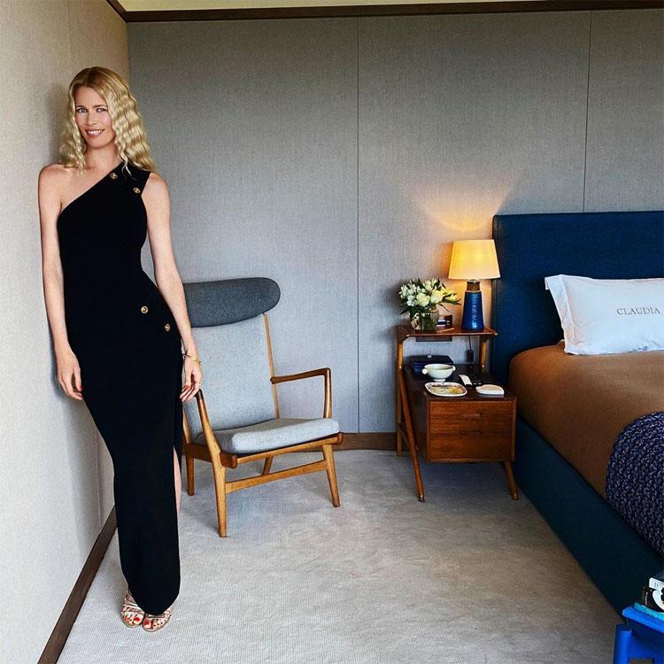 Claudia Schiffer Celebrates Her 50th Birthday In Versace