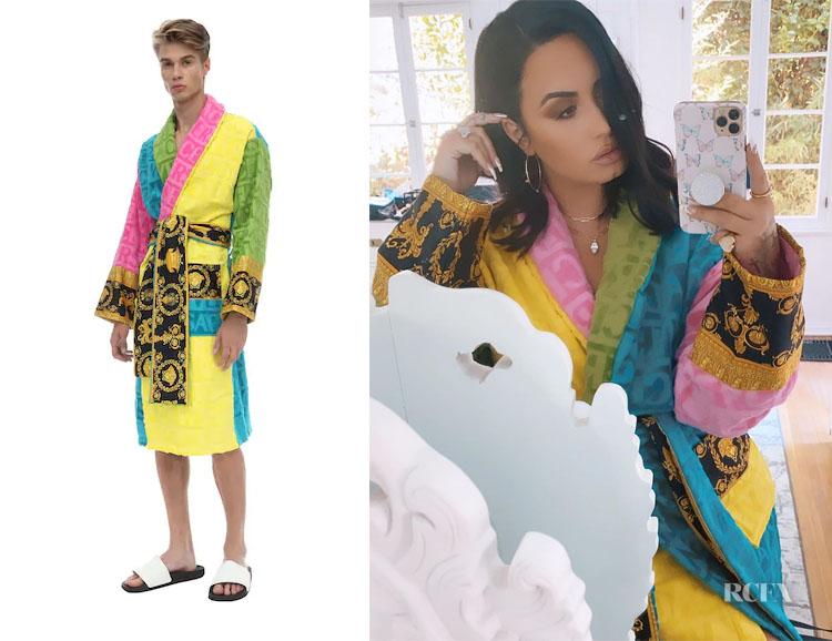 Demi Lovato Versace Barocco & Robe Cotton Bathrobe