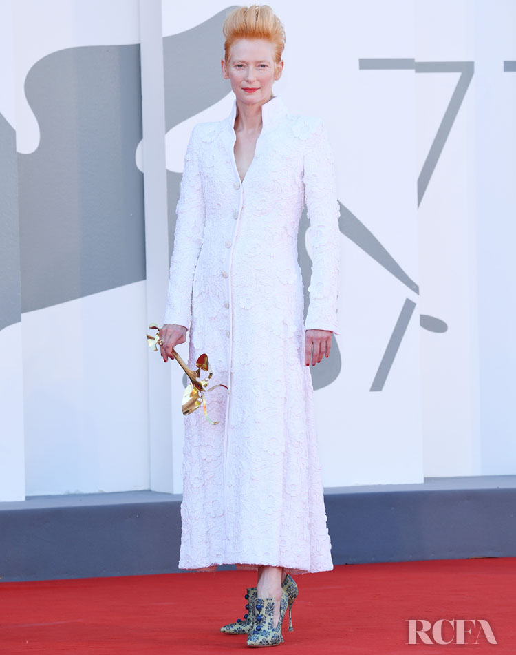 Tilda Swinton Wore Chanel Haute Couture To 'The Human Voice' Venice Film Festival Premiere