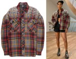 Gabrielle Union's Miu Miu Crystal-Embellished Plaid Jacket
