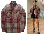 Gabrielle Union's Miu Miu Crystal-Embellished Plaid Jacket