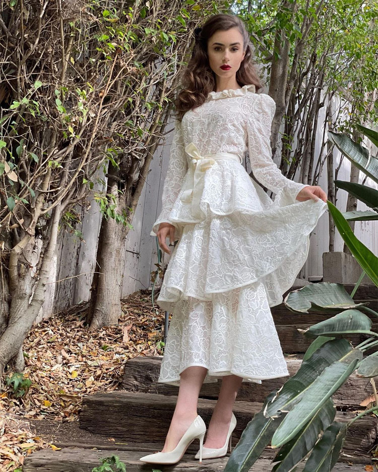 Lily Collins Wore Zimmermannhg To The 'Mank' Virtual Press