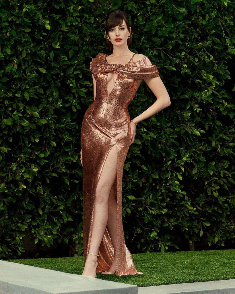 Anne Hathaway In Atelier Versace Promoting Locked Down