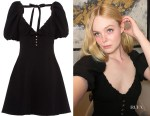 Elle Fanning's Miu Miu Short Puff Sleeve Black Open Back Dress