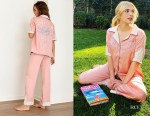 Emma Roberts' Free People Lucky Stars Pink & White Pajama Set