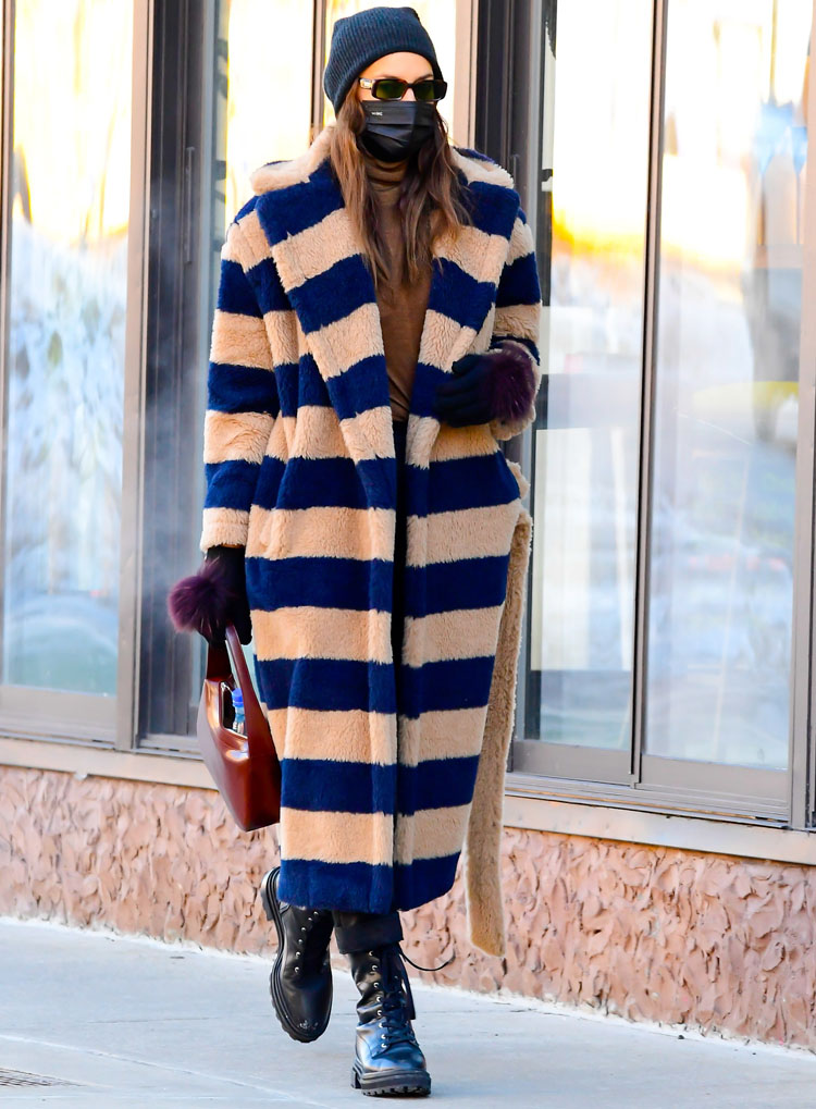 Irina Shayk Stays Warm In Her Striped Max Mara Teddy Coat