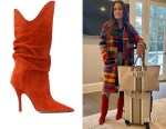 Kyle Richards' The Attico Burnt Orange Suede Pointed Slouch Boots