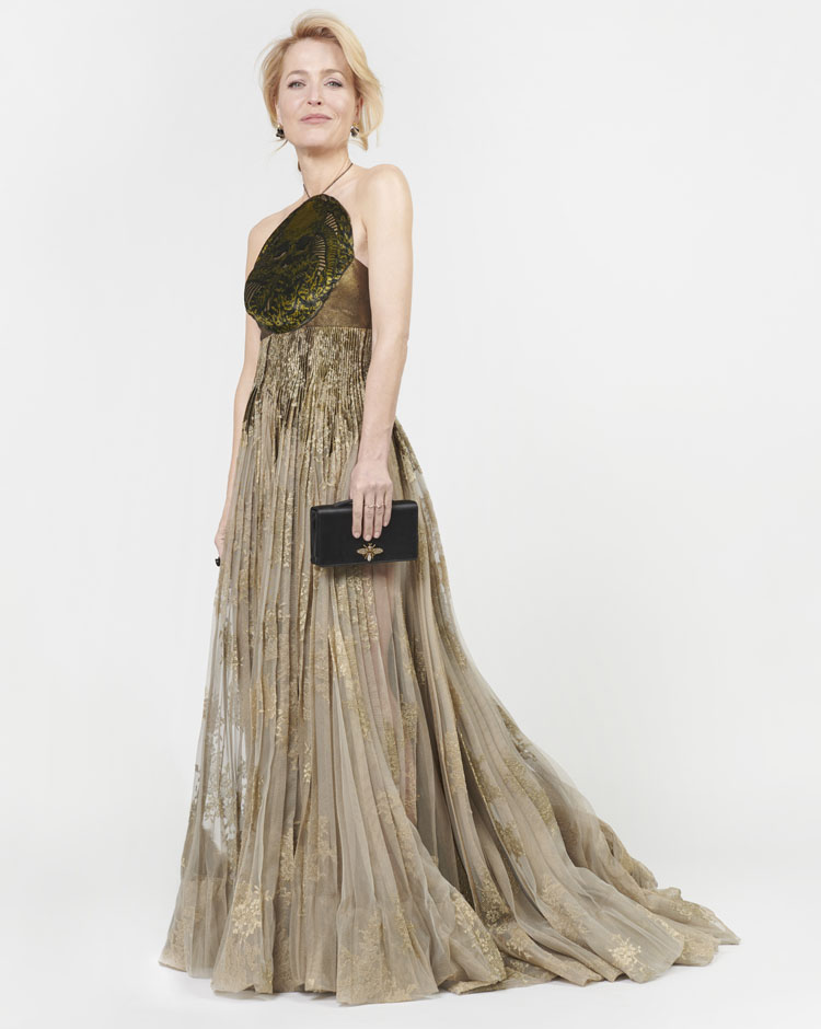 Gillian Anderson Wore Christian Dior Haute Couture To The 2021 Golden Globe Awards