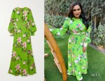 Mindy Kaling's Andrew Gn Green Floral-Print Silk-Crepe Gown