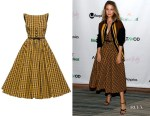 Dianna Agron's Miu Miu Check-Pattern Flared Dress