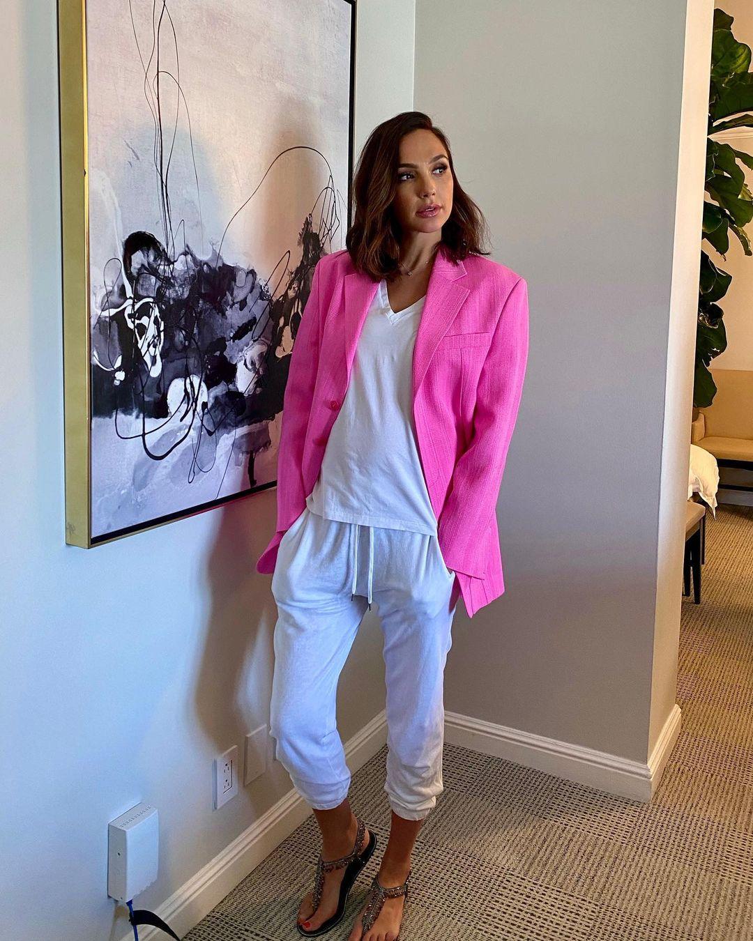 Gal Gadot Promotes 'Impact' Wearing Jacquemus Pink Blazer