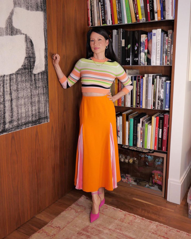 Lucy Liu Wore JoosTricot  & Versace On 'Sesame Street: 50 Years of Sunny Days'