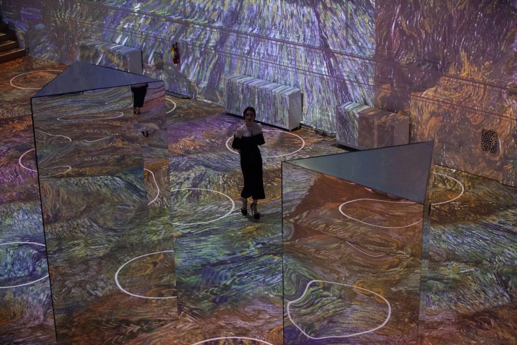 Lily Collins Wore Ulyana Sergeenko Demi Couture To The Immersive Van Gogh Exhibit