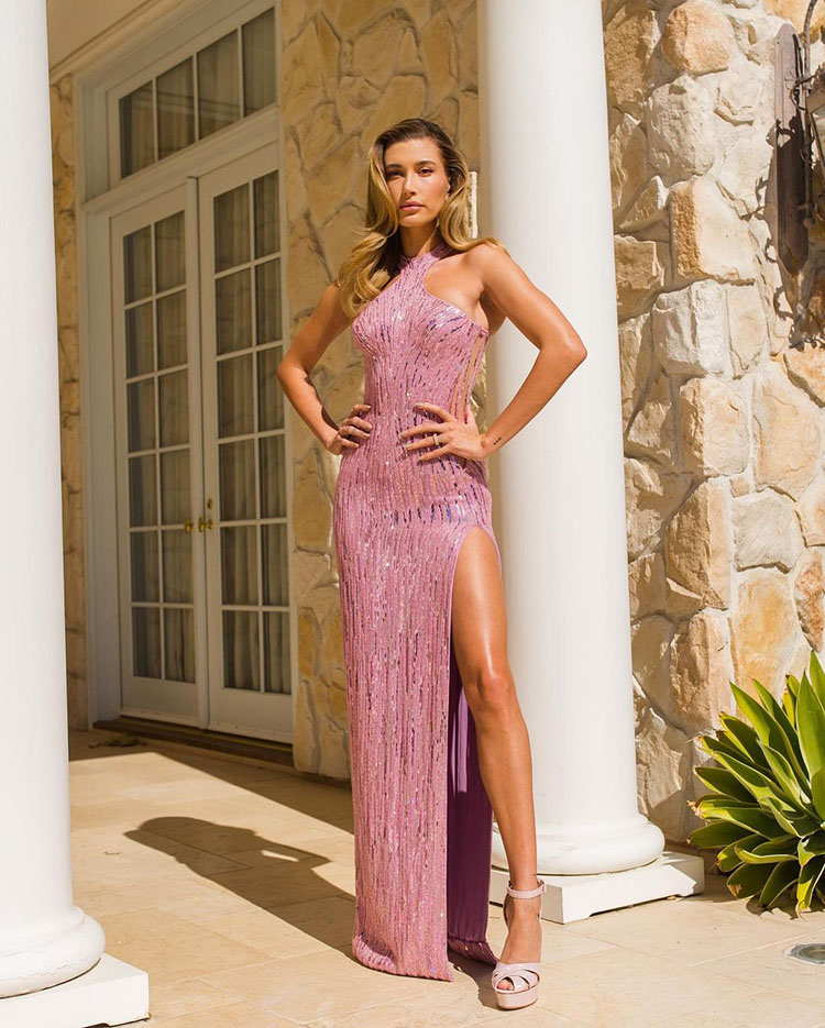 Hailey Beiber Gets Dressed Up In Atelier Versace For Her Latest YouTube Video