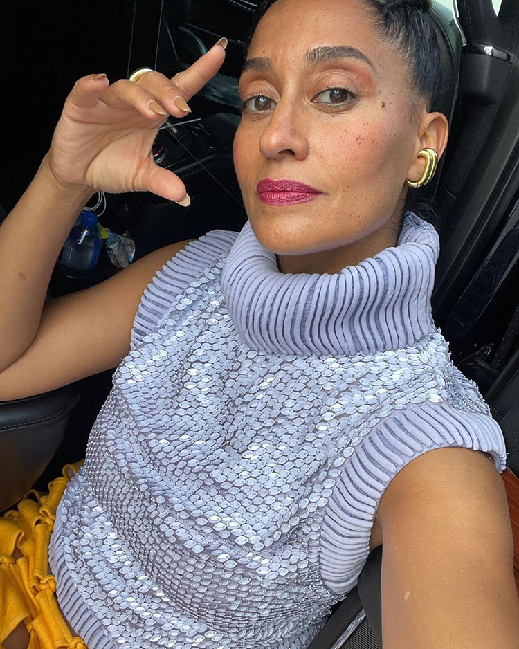 Tracee Ellis Ross WFH In Valentino Haute Couture
