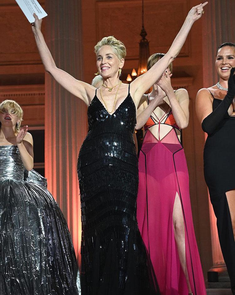 Sharon Stone Wore Dolce & Gabbana & Alberta Ferretti For The amfAR Cannes Gala