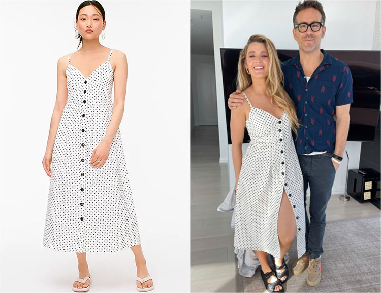 Blake Lively's J. Crew Painted Dot Button-Front Dress