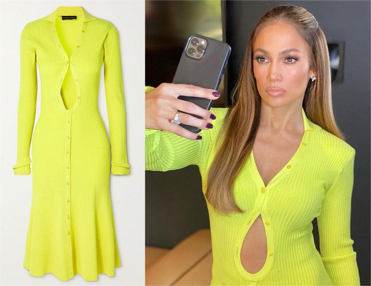 Jennifer Lopez's David Koma Cut-Out Neon Ribbed Dress