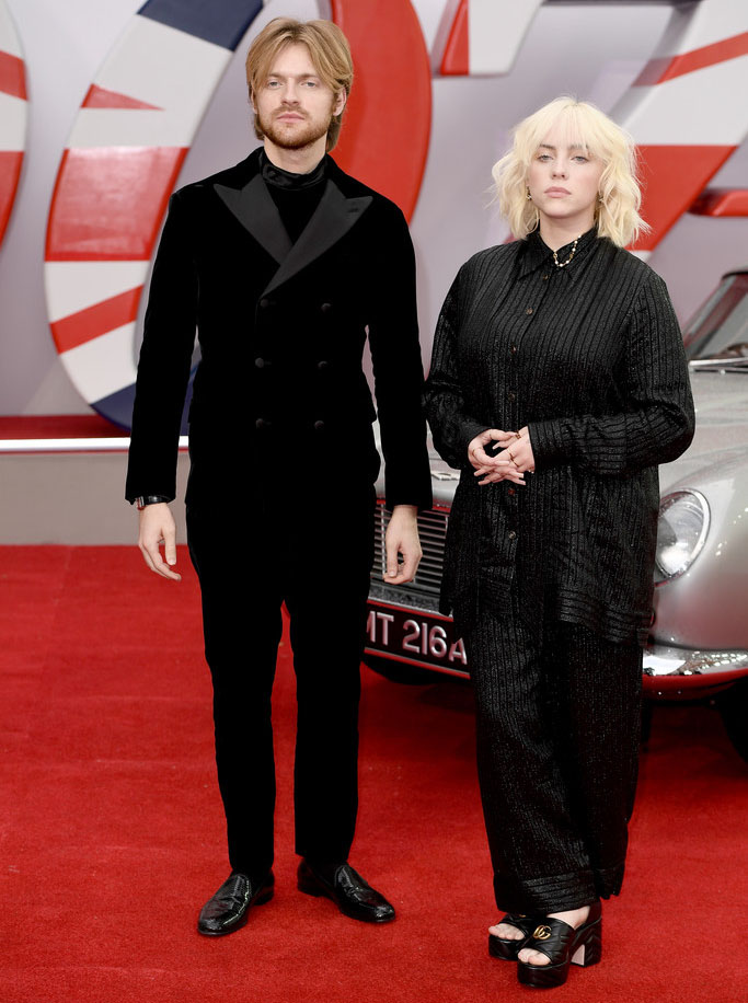 Finneas Wore Armani & Billie Eilish Wore Gucci To The 'No Time To Die' World Premiere