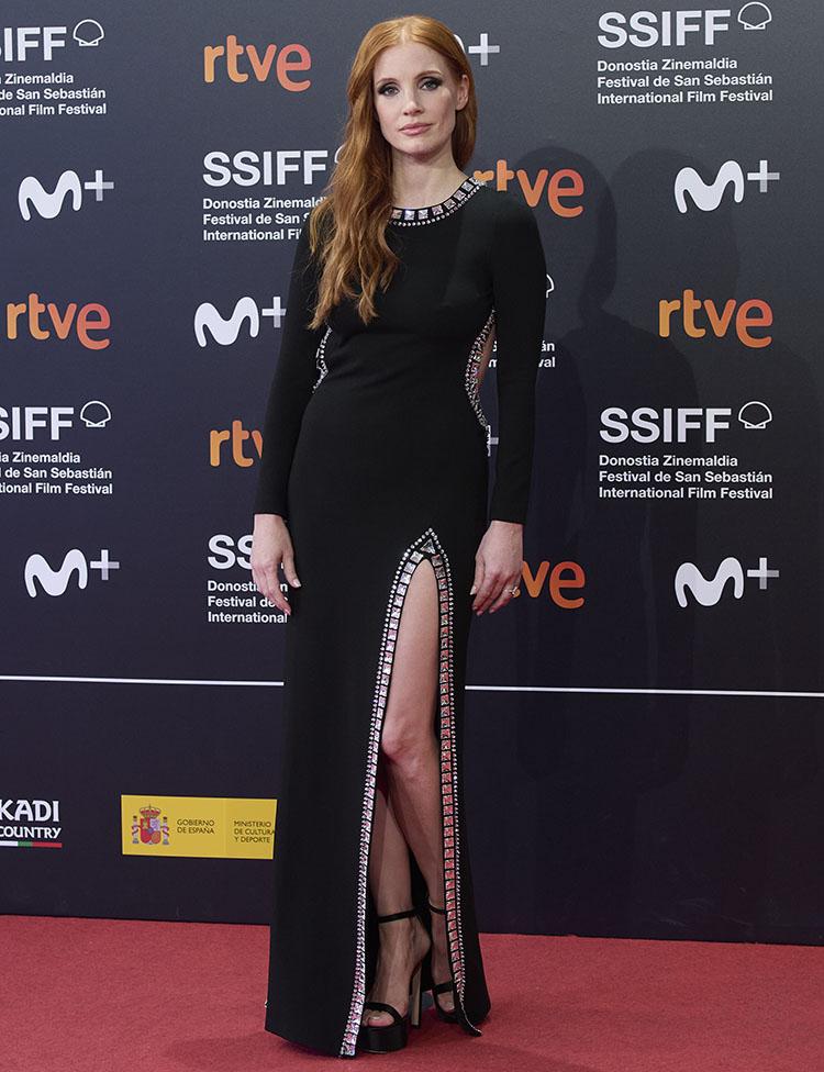 Jessica Chastain Wore Miu Miu To 'The Eyes of Tammy Faye' Sebastian Film Festival Premiere