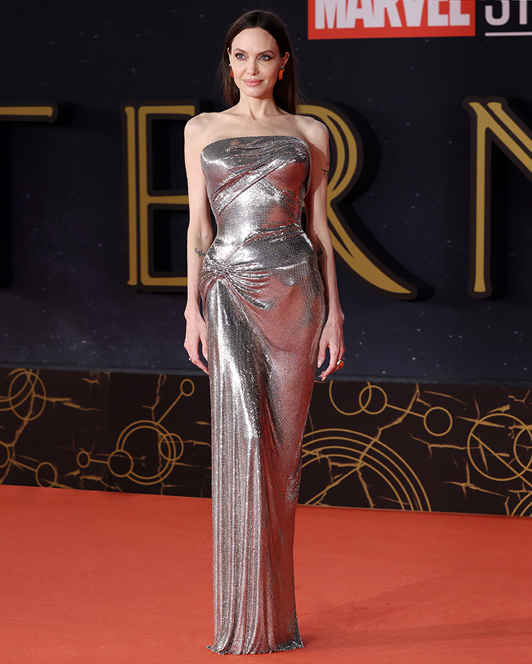 Angelina Jolie Wore Atelier Versace To The 'Eternals' Rome Film Festival Premiere