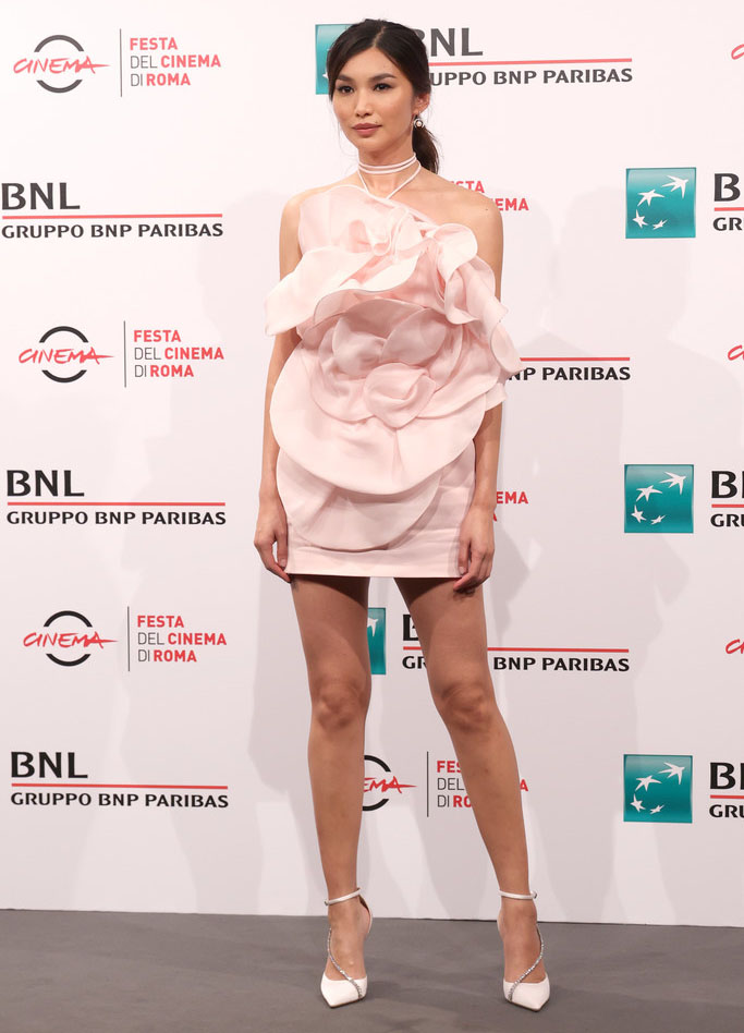 Gemma Chan Wore Magda Butrym To The 'Eternals' Rome Film Festival Photocall